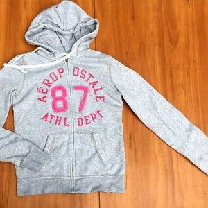 ☃️Aeropostale 87 Gray Pink Embro. Graphic Hoodie S